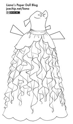 Black and White Gown with Layered Ruffles | Liana's Paper Dolls