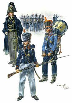 Ufficiale, fuciliere e tamburo della fanteria leggera