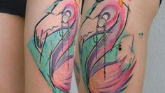 Flamingo with monocle Tattoo by Uncl Paul Knows