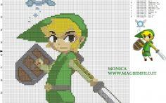 Link y Ciela (The legend of Zelda) patrón punto de cruz