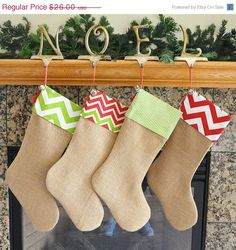 2 as a gift with goodies inside? - Sale Burlap Christmas Stocking with Fabric by holidayhomedecor $22.10
