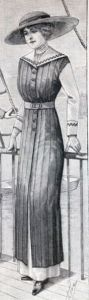 Dress For Yachting. The model shown is made in marine blue linen, which is arranged in pleats. The under skirt is made of light weight white cashmere. The sleeves and collar are made of white linen and trimmed with marine blue soutache braid. The under chemisette is made of gathered tulle, and the ensemble is completed with a belt of white silk.    La Mode Illustree ~ March 1912