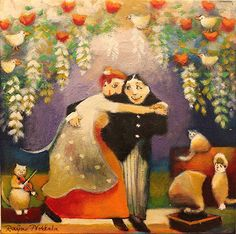Gina gallery - Our First Dance Steps. GINA Gallery of International Naïve Art deals in the procurement and sale of naïve art from all over the world Naive Art, Pastel Art, First Dance, Funny Art, Cat Art, Finland, Martini, Illustrators, Fantasy