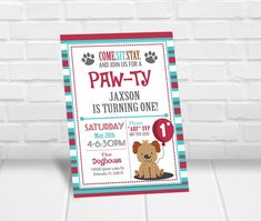 Need to get your hands on invitations quick? Print these invitations yourself right from home or your favorite print shop! Simply fill in the box above with your child's name and party details. Puppy Birthday Parties, Kids Birthday Party Invitations, Puppy Party, Dog Birthday, Birthday Party Themes, Personalized Invitations, Digital Invitations, Printable Invitations, Invites