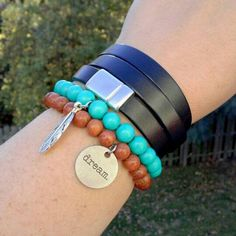 Another great combination with the Leather Wrap Bracelet and Wooden Bead Bracelets! www.sgtpepperscreations.etsy.com #sgtpepperscreations #leatherwrapbracelet #woodenbeadbracelet
