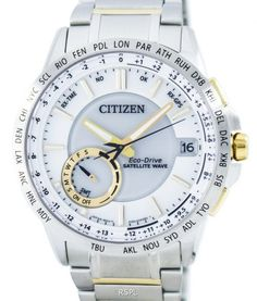 Online watch dealer with discounted prices like Citizen Eco-Drive Satellite Wave GPS World Time Men's Watch has Stainless Steel Case, Two Tone Stainless Steel Bracelet, Eco-Drive Movement, Caliber: Sapphire Crystal Stainless Steel Bracelet, Stainless Steel Case, Citizen Eco, Perpetual Calendar, Luxury Watches For Men, Watch Sale, Watches Online, Rolex Watches