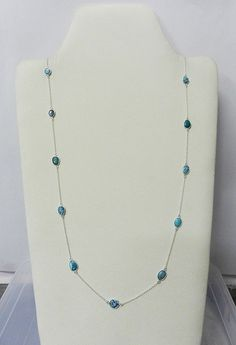 925 Sterling Silver Blue Turquoise Long Chain Statement Vintage Style Necklace #Handmade #Chain