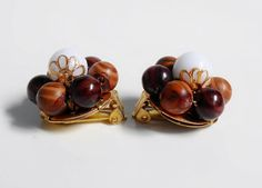 Bead Cluster Earrings Brown White Gold Wood by PrettyShinyThings4U