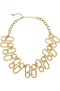 Kenneth Jay Lane Hammered gold-plated link necklace