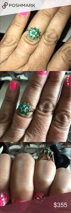 💍EMERALD&DIAMOND RING💍 Old Skool it was my Moms made in the 80's made very well. They don't make JEWERLY the way they used to.10KT GOLD Size 5 can be Sized Up or Down, HIGH PRONG Setting. Jewelry Rings