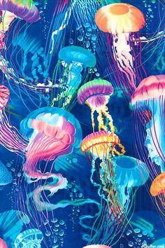 Jellyfish Ballet - Deep Ocean Blue - at eQuilter.com  Love it.  My favorite sea creature.