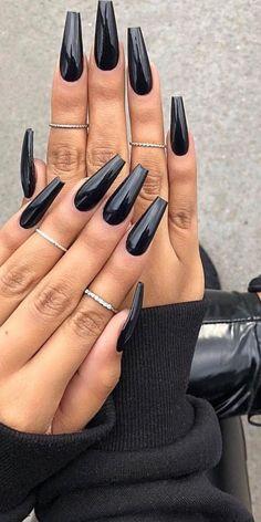 Long Black Nails, Black Coffin Nails, Acrylic Nails Coffin Short, Best Acrylic Nails, Long Nails, Short Nails, Black And Nude Nails, Black Ombre Nails, Black Stiletto Nails