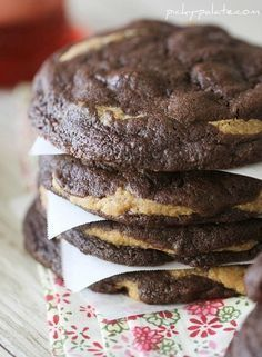 Decadent Chocolate Fudge Peanut Butter Cookie Stuffed Cookies!! #cookies #chocolate