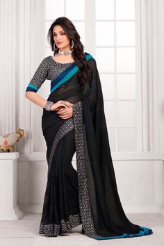 Buy a beautiful black colour saree at Madharshaonline.com