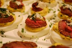 Steak and Bleu Cheese Deviled Eggs pinning for inspiration later
