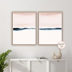 Blush Pink and Navy Watercolour Prints, Set of 2 Prints, Minimalist Art, Abstract Art, Bedroom Wall… (With images) Minimalist Wall Art, Watercolor Wall Art, Modern Watercolor Art, Abstract Wall Art, Abstract Watercolor Art, Minimalist Art Abstract, Abstract, Minimalist Art, Cactus Wall Art