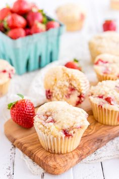 These Strawberry Coffee Cake Muffins are made with sweet fresh berries and buttermilk and topped with a delicious sugar and butter crumble!