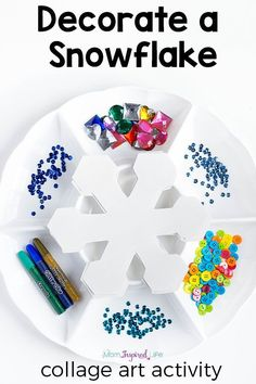 Snowflake winter craft activity for kids. This winter process art activity is a great way to develop fine motor skills and creativity! Winter Activities for Kids Winter Activities For Kids, Winter Crafts For Kids, Winter Fun, Art Activities, Winter Crafts For Preschoolers, Kids Crafts, Easy Crafts, Snow Preschool Crafts, Snow Crafts