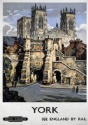 York Minster Cathedral, Yorkshire. BR Vintage Travel Poster by Kenneth Steel and British Railways