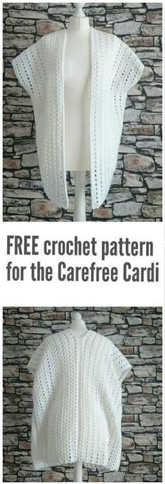 Free crochet pattern for the Carefree Cardi Designed by the Crochet Blog