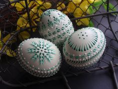 Set of 3 Decorated Green Chicken Eggs, Polish Pysanky, Wax Embossed Eggs