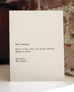 dear icebergs. letterpress card. $4.50,   shopsaplingpress via Etsy.