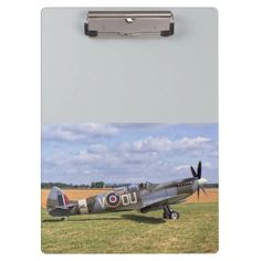 """clipboard - Spitfire T9 idea gift for the aviation enthusiast Excellent for note-taking and organizing important papers, these  ultra-sturdy acrylic clipboards will keep you on track and in style. Dimensions:  12.5""""l x 9""""w"""