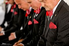 Minnie-inspired groomsmen bow ties and pocket squares #Disney