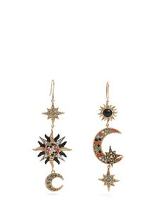 Sun, star and moon-embellished drop earrings | Roberto Cavalli | MATCHESFASHION.COM UK