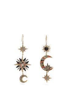 Sun, star and moon-embellished drop earrings   Roberto Cavalli   MATCHESFASHION.COM UK