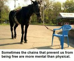 Sometimes the chains that prevent us from being free are more mental than physical.