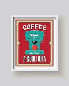 Retro Kaffeemaschine Küche Décor Espresso Küche von BlackPelican
