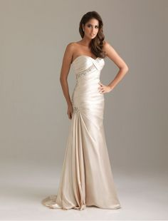 Satin Sweetheart Strapless Neckline Prom Dress
