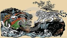 Green Chinese East Asian dragon versus White tiger in the landscape with waterfall,rocks and water waves . Two spiritual creatures in Classical Feng Shui representing Yin Yang. Dragon Tattoo Shoulder, Chinese Fairy Tales, Feng Shui Animals, Tiger Vector, Japanese Tiger, Tiger Dragon, Asian Landscape, Tiger Illustration, Chinese Dragon Tattoos