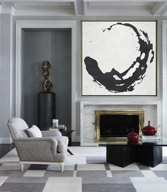Hand painted abstract painting, black and white minimal art by Celine Ziang from CZArtDesign.com It's a great pieces for a minimal interior or a neutral home.
