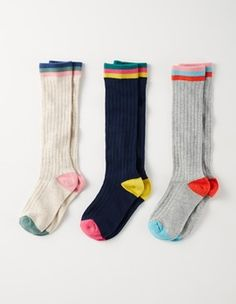 Ribbed Pack 3 Pack Knee Socks Boden