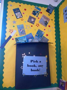 Magic books School Library Displays, Library Themes, Kids Library, Elementary Library, Classroom Displays, Classroom Themes, Magic Decorations, School Decorations, School Themes