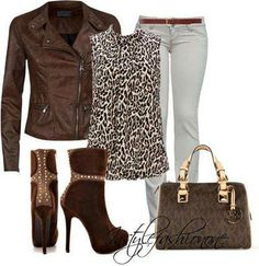 Perfect for a night out. Biker-style jacket with a animal print blouse. The chocolate coloured boots are a great match for the outfit. Fasion, Fashion Outfits, Womens Fashion, Fashion Trends, Fashion Sets, Fashion Inspiration, Fall Winter Outfits, Autumn Winter Fashion, Fall Fashion
