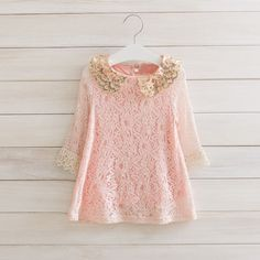 Toddler Fashion: This pink dress is sure to turn heads. It features a gold sequin collar and lace!  Long Sleeved.  Perfect for Easter.   Ships in about 8-16 Days after order.