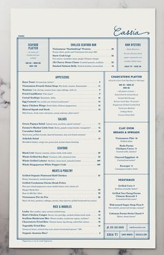 Cassia Menu by Strohl, Inc. | visual communication. graphic design. menu design. restaurant menu. layout. grid. hierarchy. typography.