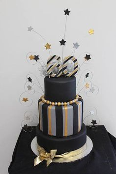 Silver Black And Gold Cake 60th Birthday For Ladies