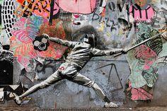 Street Artist Deccle is known for hi high detailled stencil works. This is an   Fotos: Street Art Berlin  http://www.flickr.com/photos/berlin_streetart/sets/72157629625020560/