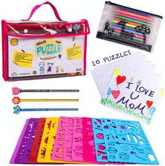 Top Quality Art Kit for your kids- this set as it all! This art set brings you a fun educational Creativity Kit which is cut above the rest. Take them off the screens and get them creating! In this Creativity Stencil Kit: * 10 big blank 24 pcs puzzles * 12 flexible, plastic stencil sheets with over 200 designs * 20 sheets of quality paper for drawing * 3 special pencils * sharpener * 12 double tip markers * Pencil case * 10 opp bags * Carry case Color Activities Kindergarten, Dinosaur Stencil, I Love U Mom, Create Your Own Puzzle, Drawing Stencils, Craft Kits, Creative Art, Gifts For Kids