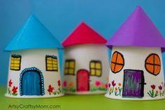 Znovu své vzpomínky z dětství s tímto papírem poháru miniaturní vesnice řemesel - zábava, skromný a tak snadné, aby se displej město papíru s malými dětmi.