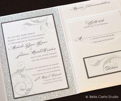Glittery white and silver winter wedding invitation. A gorgeous January wedding invitation by Bella Carta Studio.