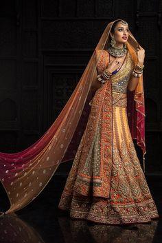 Absolutely gorgeous! Tarun Tahiliani Orange Embroidered #Lehenga.