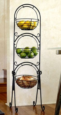 Scroll 3-Tier Versatile Floor Basket Stand - Can be used in any room of the house! From Fruit to Soaps ... Plants to Towels.