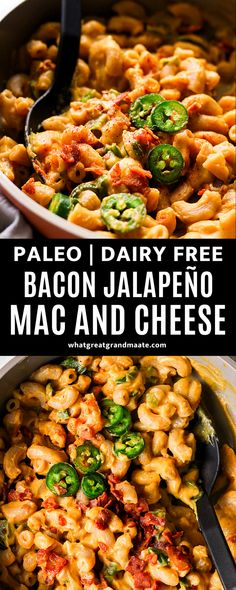 Creamy dairy free bacon jalapeño mac and cheese that's easy to make and it's paleo as well! The flavors are amazing with bites of jalapeño and bacon mixed in to make the best comfort food. #macandcheese #paleo #dairyfreemacanadcheese #dairyfreecheese #nutfree #glutenfree #grainfree Dairy Free Recipes, Paleo Recipes, Real Food Recipes, Gluten Free, Bacon Jalapeno Mac And Cheese, Stuffed Jalapenos With Bacon, Entree Recipes, Side Dish Recipes, Lunch Recipes