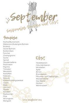 Saisonales im September - Nina Flucher Sustainable Living, Sustainability, Eco Friendly, September, Green, Fall Vegetables, Watermelon, Sustainable Development