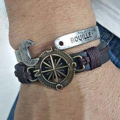 Kit Pulseiras Masculinas Couro Rosa Dos Ventos Chave Boca mens bracelets fashion style cocar brasil